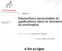 Interactions sensorielles et applications dans le domaine du packaging
