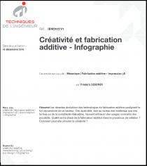 Créativité et fabrication additive - Infographie