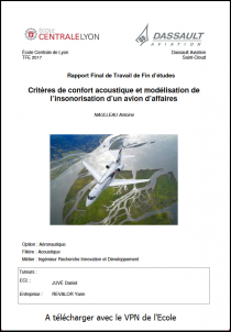 Critères de confort acoustique et modélisation de l'insonorisation d'un avion d'affaires