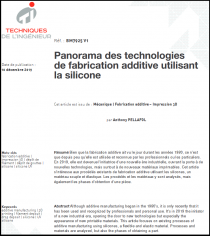 Panorama des technologies de fabrication additive utilisant la silicone