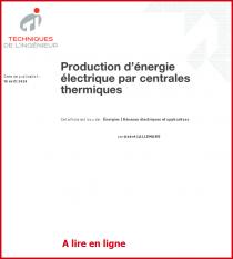 Production d'énergieélectrique par centralesthermiques