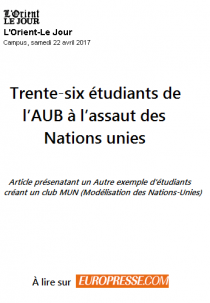 Trente-six étudiants de l'AUB à l'assaut des Nations unies