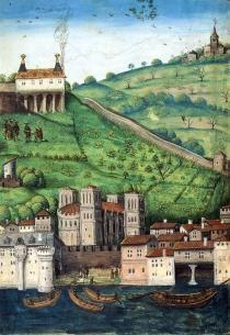 Vue partielle de la colline de Fourvière avec la maison de Pierre Sala, enluminure. Extrait de : Complainte au dieu d'Amour de Pierre Sala (V.1517-1523)